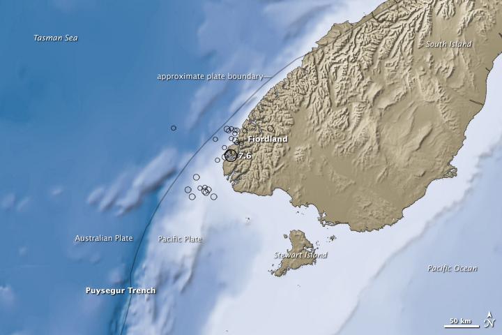 NASA fiordland 2009 earthquake