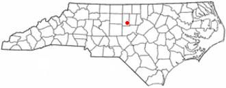 Saxapahaw, North Carolina - Image: NC Map doton Saxapahaw
