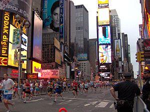 New York City Half Marathon - Runners going through Times Square in the inaugural New York City Half Marathon in 2006.