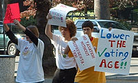 Protest in favour of lowering the voting age by members of NYRA Berkeley, California, 2004.