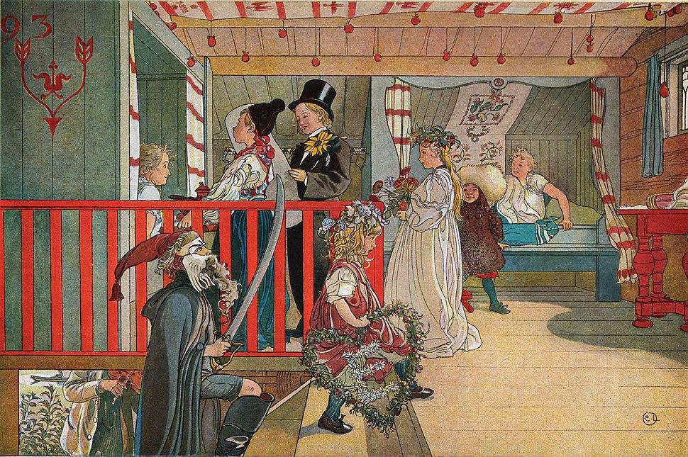 Namnsdag på härbret av Carl Larsson 1898