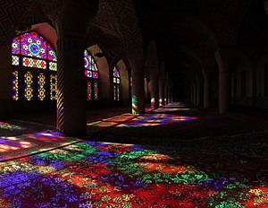 color effect sunlight shining through stained glass onto carpet nasir ol molk mosque located in shiraz iran