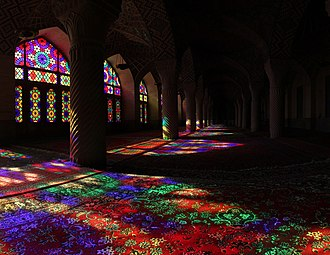Color - Color effect – Sunlight shining through stained glass onto carpet (Nasir ol Molk Mosque located in Shiraz, Iran)