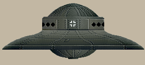 Nazi UFOs - Artistic impression of a Haunebu-type German flying saucer, similar in appearance to craft allegedly photographed by George Adamski, Reinhold Schmidt, Howard Menger, and Stephen Darbishire.