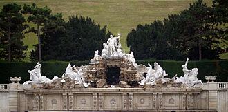 Sculptures in the Schönbrunn Garden - Neptune Fountain in the Schönbrunn Garden