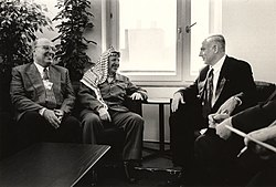 Netanyahu with Yasser Arafat and Nabil Shaath at the World Economic Forum in Davos, 1997