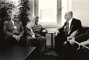 Nabil Shaath - Nabil Shaath (L) with Yasser Arafat and Benjamin Netanyahu at the World Economic Forum in Davos, 1997