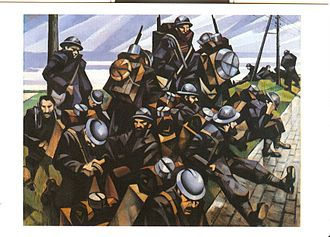 Albert Eugene Gallatin - C. R. W. Nevinson, French Troops Resting, postcard taken from a painting of the same name, 1916