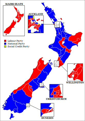 New Zealand general election, 1984 - Image: New Zealand Electorates 1984