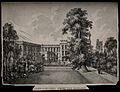 New College, Oxford; from the gardens. Lithograph. Wellcome V0014140.jpg