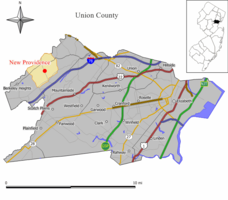 Map of New Providence in Union County. Inset: Location of Union County in New Jersey