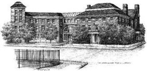 Newburyport Public Library - The architect's pencil sketch of Newburyport Public Library. The Tracey Mansion is visible to the viewer's right. Its main entrance, now leading to a reading room, is no longer used.