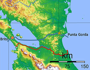 Nicaragua Canal - Nicaragua Canal Project (2014) (blue line). Stars indicate Brito and Camilo Locks. The red line is the border between Nicaragua (above) and Costa Rica (below).