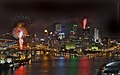 Night view of Pittsburgh, with fireworks (July 22, 2005).jpg