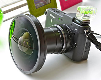Fisheye lens - A fisheye converter lens on a Nikon 1 V1