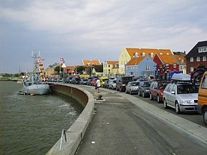 Main town Nordby, at the harbor
