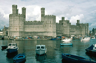 "Conquest of Wales by Edward I of England - Caernarfon Castle, the ""capital"" of English rule in North Wales for two centuries after the conquest."