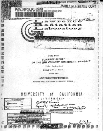 """Nth Country Experiment - The cover sheet of the once secret summary report on the """"Nth Country Experiment""""."""