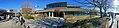 Oasen shopping mall (kjøpesenter, bydelssenter) in Folke Bernadottes vei, Fyllingsdalen, Bergen, Norway. Skyss bus station, Tryg, main entrance, etc. Distorted panorama 2018-03-17 D.jpg