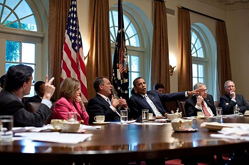 Congressional leadership meeting with then-President Obama in 2011. Obama meets with Congressional Leadership July 2011.jpg