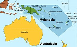 A map of Oceania with the islands of Melanesia highlighted in pink.