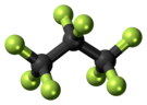 Ball-and-stick model of octafluoropropane