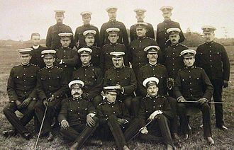 Arthur Currie - Officers of the 5th Regiment at Macaulay Point in 1909. Currie in middle row at left of center