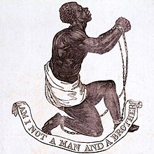 "The Official Medallion of the British Anti-Slavery Society, showing a black man in chains and the caption ""Am I Not a Man and a Brother"""