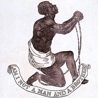 """Am I Not a Man and a Brother?"" 1787 medallion designed by Josiah Wedgwood for the British anti-slavery campaign BLAKE10.JPG"