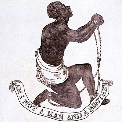 """Am I Not A Man And A Brother?"" Medallion created as part of anti-slavery campaign by Josiah Wedgwood, 1787 BLAKE10.JPG"