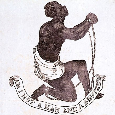 Design for the medallion of the Committee for the Abolition of the Slave Trade (formed 1787), struck by Josiah Wedgwood BLAKE10.JPG