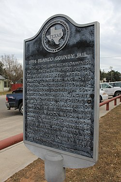 Old blanco county jail, johnson city, texas historical marker (8707549739)
