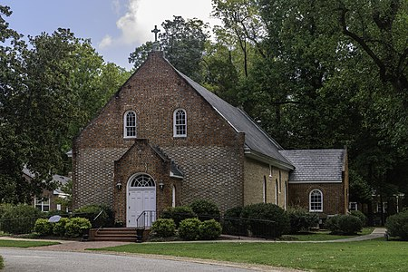 Old Donation Episcopal Church in Virginia Beach, Virginia. Founded in 1637 and rebuilt and remodeled several times since then.