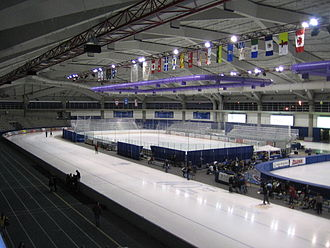 Long track speed skating - The long track Olympic Oval in Calgary. Two hockey rinks fit inside the long track rink.