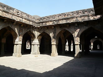 Khirki Mosque - View of interior courtyard