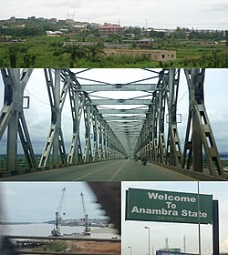 Top: Onitsha landscape.Middle: River Niger Bridge heading from Onitsha.Bottom left: The Onitsha Niger River Port. Bottom right: Welcome signboard while entering Onitsha, Anambra State.