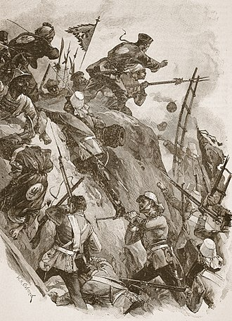Battle of Taku Forts (1860) - An illustration of Rogers reaching the top of the wall with help from Lieutenant Lenon