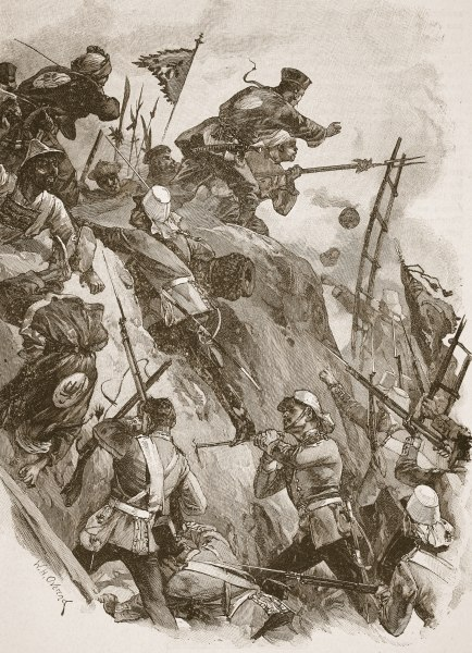Opium Wars, storming of the Taku Forts by British troops, 1860