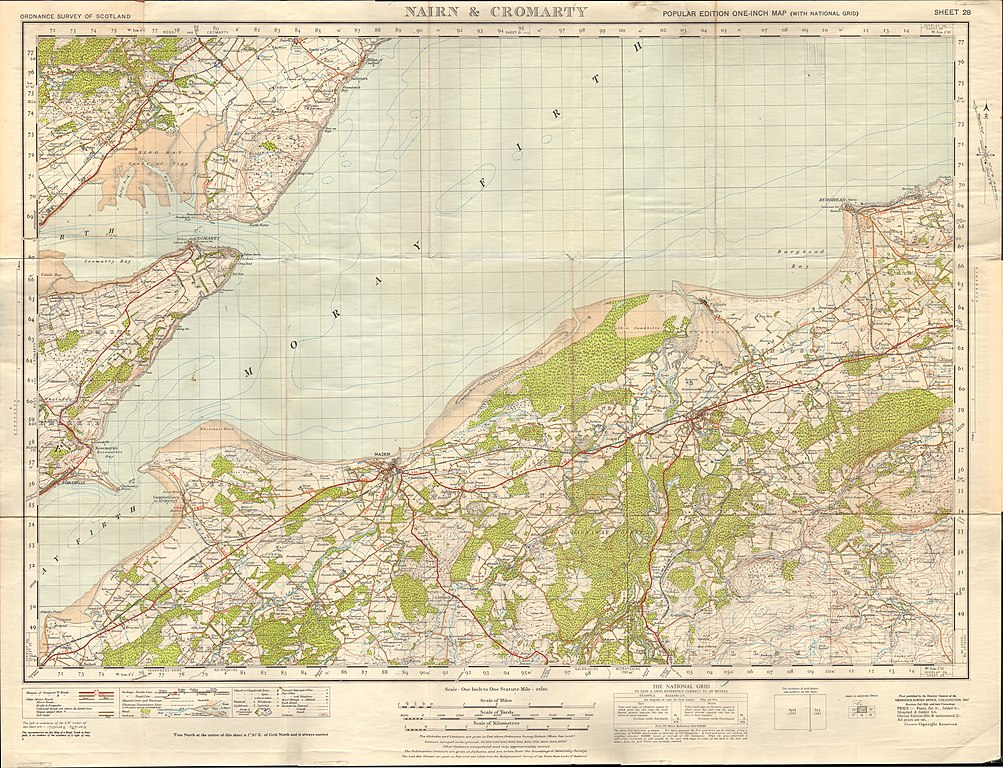 Nairn Scotland Map.File Ordnance Survey One Inch Sheet 28 Nairn And Cromarty Published
