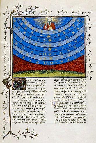 Nicole Oresme - A page from Oresme's Livre du ciel et du monde, 1377, showing the celestial spheres