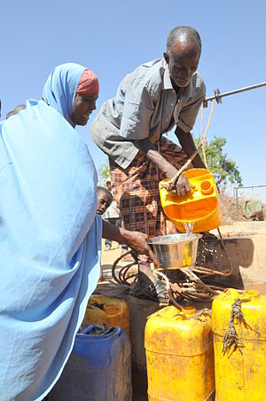 The urban poor buy water from water vendors for, on average, about 5 to 16 times the metered price. Oxfam East Africa - SomalilandDrought022.jpg