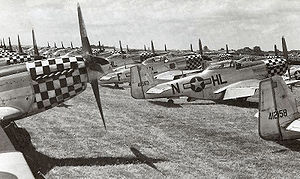 United States Air Forces in Europe - Air Forces Africa - P-51D Mustangs, mostly from the 78th Fighter Group, in storage at RAF Duxford, England, Summer 1945. Most of these aircraft were returned to the United States or used by USAFE units in Germany.