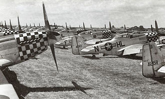 United States Air Forces in Europe – Air Forces Africa - P-51D Mustangs, mostly from the 78th Fighter Group, in storage at RAF Duxford, England, Summer 1945. Most of these aircraft were returned to the United States or used by USAFE units in Germany.