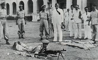 Sri Lanka Armed Forces - Prime Minister D. S. Senanayake watching the Ceylon Light Infantry training