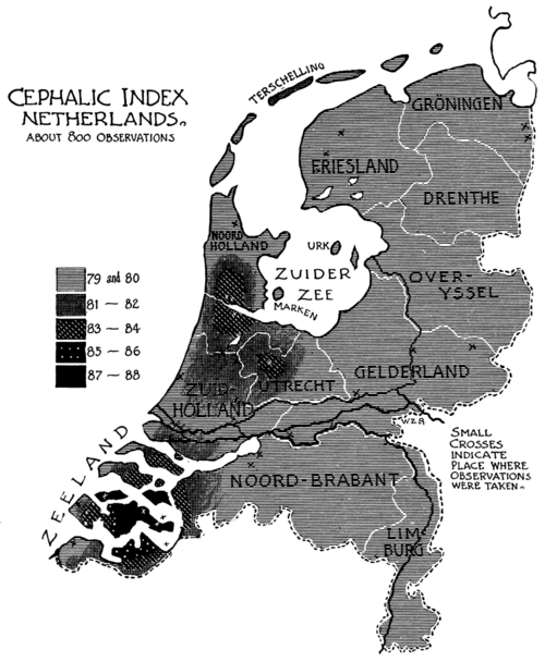 PSM V52 D332 Cephalic index map of the netherlands.png
