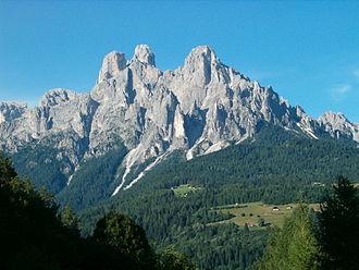 Primiero - Pale di San Martino (Cima Madonna, Sass Màor, Cima Cimerlo) viewed from the Primiero valley