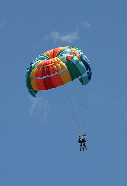 Note asymmetrical flutes of highly modified parachute so kiting occurs. Parasail lahaina.jpg
