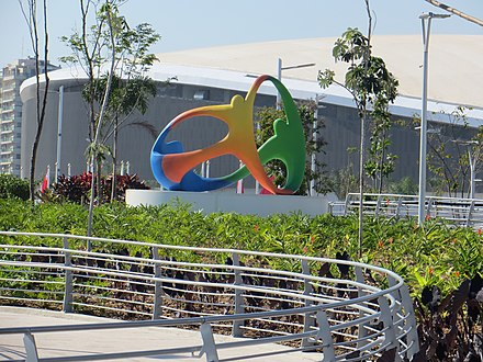 Sculpture of the logo of the Rio 2016 in Barra Olympic Park Parque Olimpico Rio 2016 (28370259403).jpg