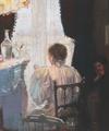Paul Bloch - Interiør med ung kvinde, som læser højt for veninde.png