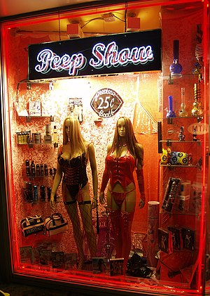 Peep show - Exterior of a sex shop in New York City that also provides a peep show